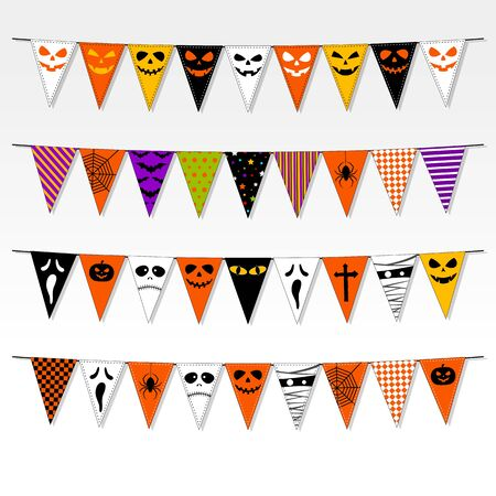 bunting flags: Illustration of Halloween party bunting flags set