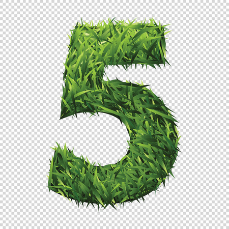 Number five in green grass. A lawn number with gradient light green to dark green.