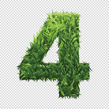 Number Four of green grass. A lawn number with gradient light green to dark green.