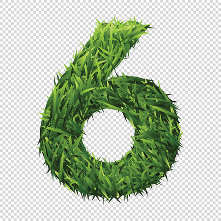 Number six in green grass. A lawn number with gradient light green to dark green.