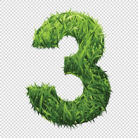 Number Three of green grass. A lawn number with gradient light green to dark green.
