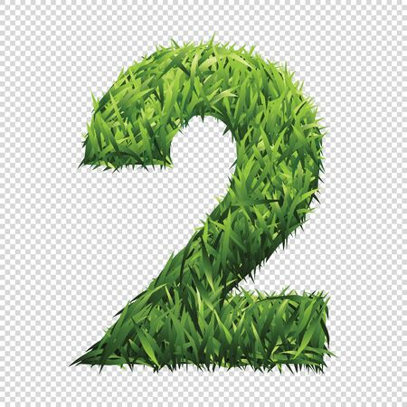 Number Two of green grass. A lawn number with gradient light green to dark green.