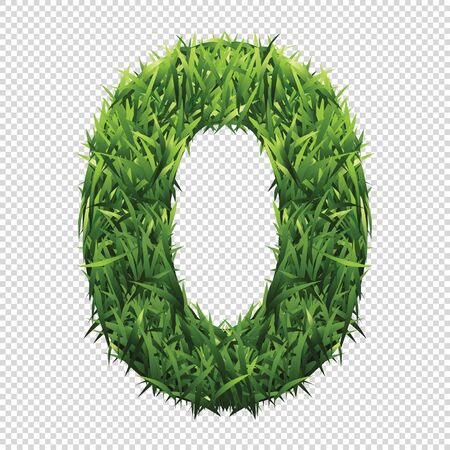 Number Zero of green grass. A lawn number with gradient light green to dark green.