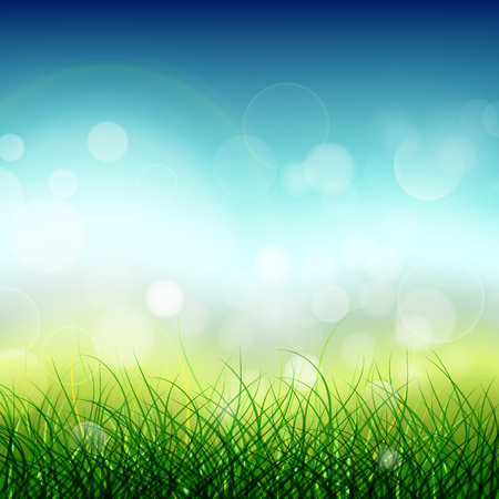 Illustration of abstract meadow green grass with spring concept background