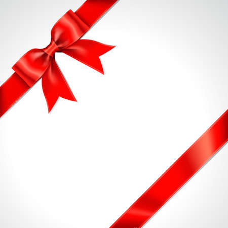 Tilted Red Gift Ribbon Bow Vector. Illustration of Tilted Greeting Red Present Wrapping Ribbon and Bow on White Background.