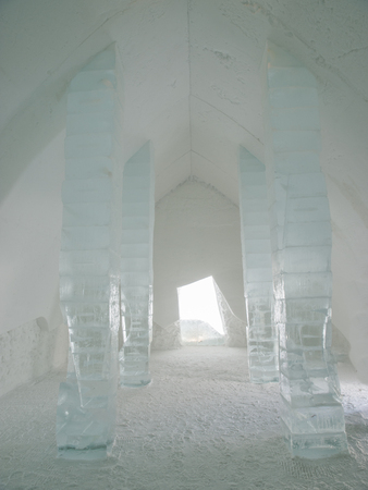 light columns: Columns at Ice Hotel in Quebec, Canada. Stock Photo