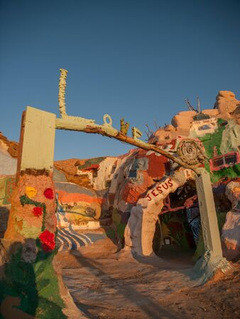 hillsides: Salvation Mountain attraction - colourfully painted hillsides in California, painted by Leonard Knight. Stock Photo