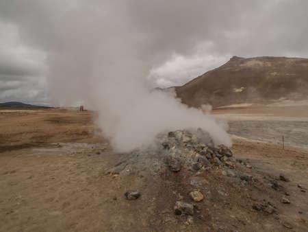 fumarole: Steaming fumarole at Namaskard, Myvatn, Iceland