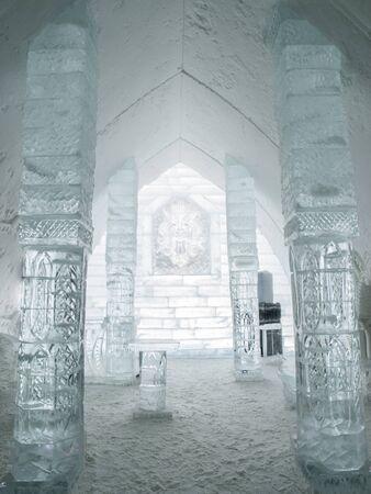 Columns at Ice Hotel in Quebec, Canada.