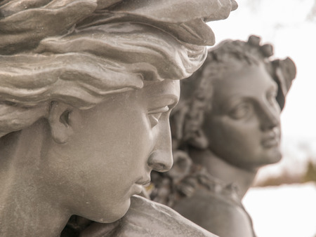 ladies bust: Romantic statue of young male and female where male is admiring female in Quebec City, Quebec, Canada.
