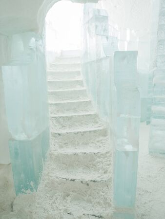 quebec: Staircase covered in snow inside Ice Hotel in Quebec Canada.