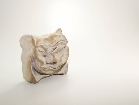 scrunched: Clay sculpture of angry sleeping scrunched up face on white background. Sculpted by myself, also the photographer, Zeljka Burazin, in 2007, Toronto, Ontario, Canada. Stock Photo