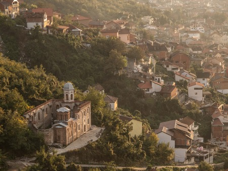 roofed house: Aerial view of Prizren, Kosovo, Europe at sunset.