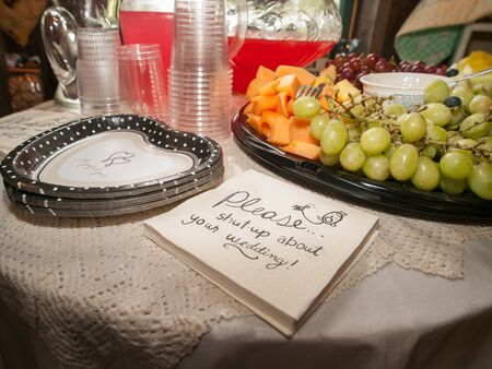 shutup: Table at bridal shower with heart shaped paper plates, napkins that say please shut-up about your wedding, a fruit platter with red and green grapes and cantaloupe and a punch bowl with plastic cups. Stock Photo