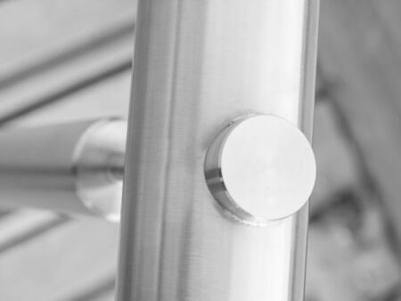 metal handrail: Close up of metal stainless steel joint handrail. Stock Photo