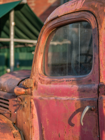 canada agriculture: Vintage red pick up truck on display at the Distillery District in Toronto, Ontario, Canada. Stock Photo