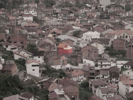 roofed house: Aerial view of red house in Prizren, Kosovo, Europe at sunset.