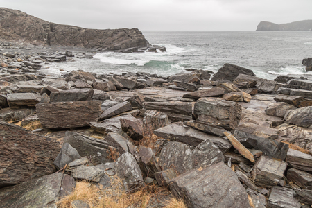Large boulders on the seaside along the East Coast Trail in Newfoundland, Canada.