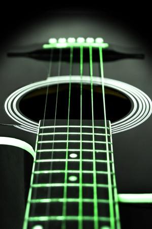 Green guitar strings - lighting effect at night