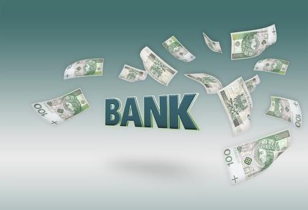 money rain: Flying moneys 100 PLN bills. 3D BANK text in center Stock Photo