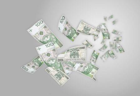 money rain: Flying moneys 100 PLN bills. Money falling in the white