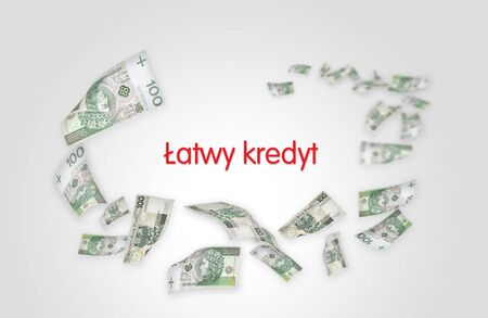 'Easy credit' text in polish. Flying moneys 100 PLN bills. photo