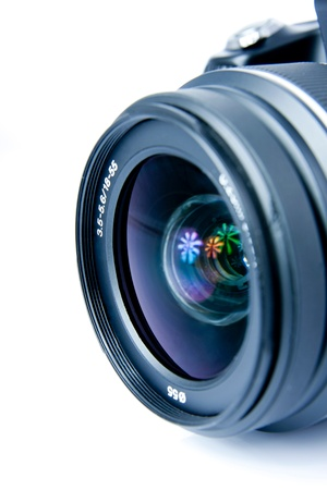 Digital photo camera, lens, closeup, isolated on white
