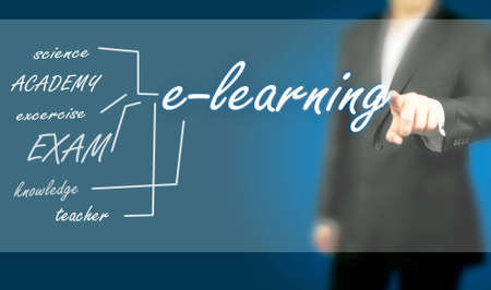 Man pushing on touch screen with e-learning word Stock Photo - 12807129