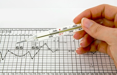 relaciones sexuales: Termómetro tradicional, los gráficos y la tabla de la fertilidad Foto de archivo