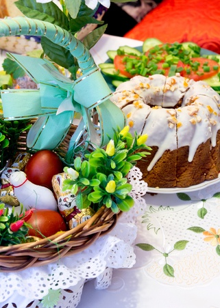 Easter meal on table photo