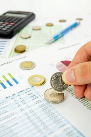 Coins savings concept on business background photo
