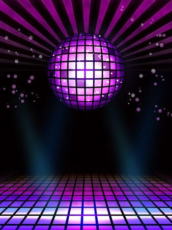 Techno disco magic ball poster full layout Stock Photo