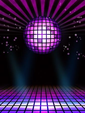 fiestas discoteca: Techno discoteca bola m�gica del cartel completo de dise�o Foto de archivo