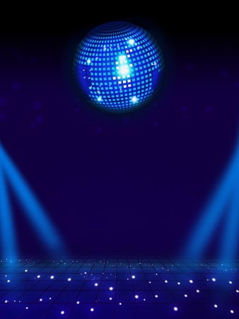 Disco ball and magic floor  Light background full layout photo