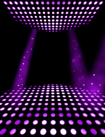 floor ball: Dance floor disco poster background. Illuminated spotlights