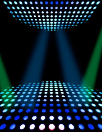 Dance floor disco poster background. Illuminated spotlights photo