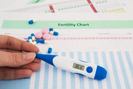 fertility: Woman hand holding thermometer on fertility chart