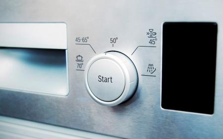 control panel lights: control panel of steel dishwasher