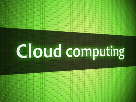 Cloud computing words on lcd-styled display Stock Photo - 18306735