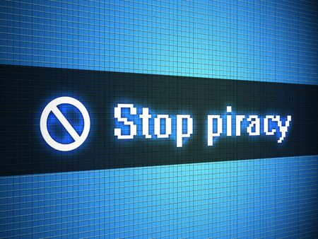Stop piracy words on lcd-styled display Stock Photo - 18306737