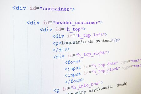 html: Code of HTML language on LCD screen
