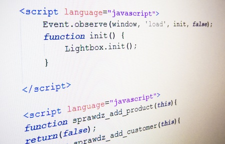 Code of JavaScript language on LCD screen Stock Photo - 18306743