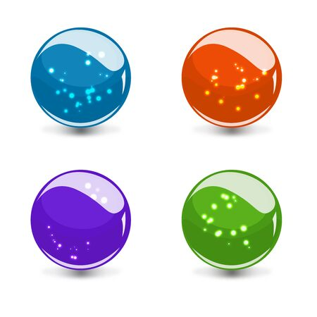3d glass colorful sphere set with reflection and glowing dots Stock Photo - 18310826