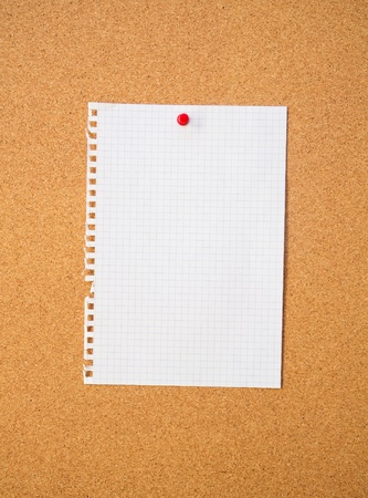 paper pin: White sheet on pin board  Cork background