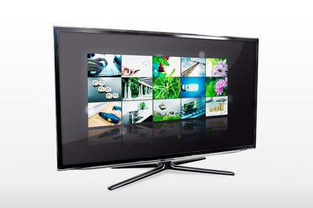 Glossy widescreen high definition tv screen with video gallery  TV and internet concept Stock Photo - 18724915