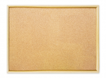 Blank cork pin board on white background photo