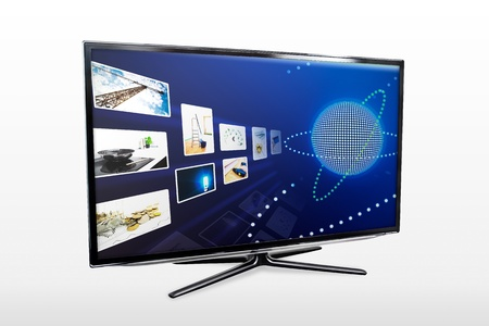 Glossy widescreen high definition tv screen with streaming video gallery. TV and internet concept. Stock Photo - 18983952