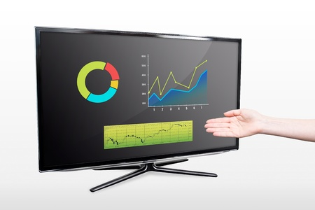 Business success growth chart. Hand showing modern TV screen photo