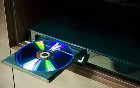blu: Blu-ray player with inserted disc Stock Photo