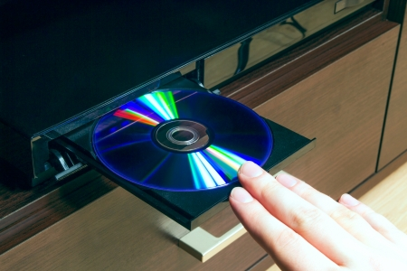 rom: Blu-ray player with inserted disc Stock Photo